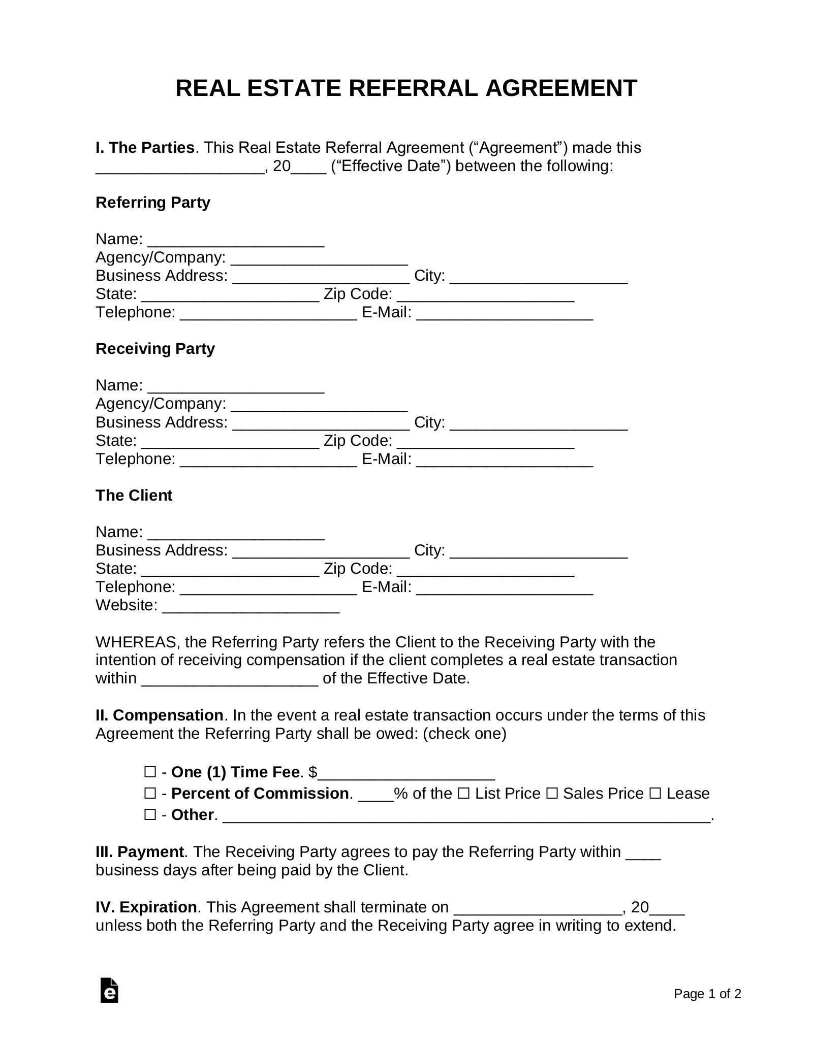 Free Real Estate Referral Agreement Pdf Word Eforms