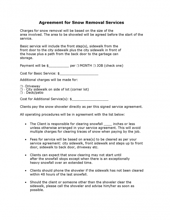 free snow removal contract template - samples