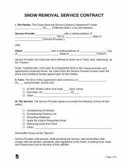 Free Snow Removal Contract Template - Samples - Word | PDF ...