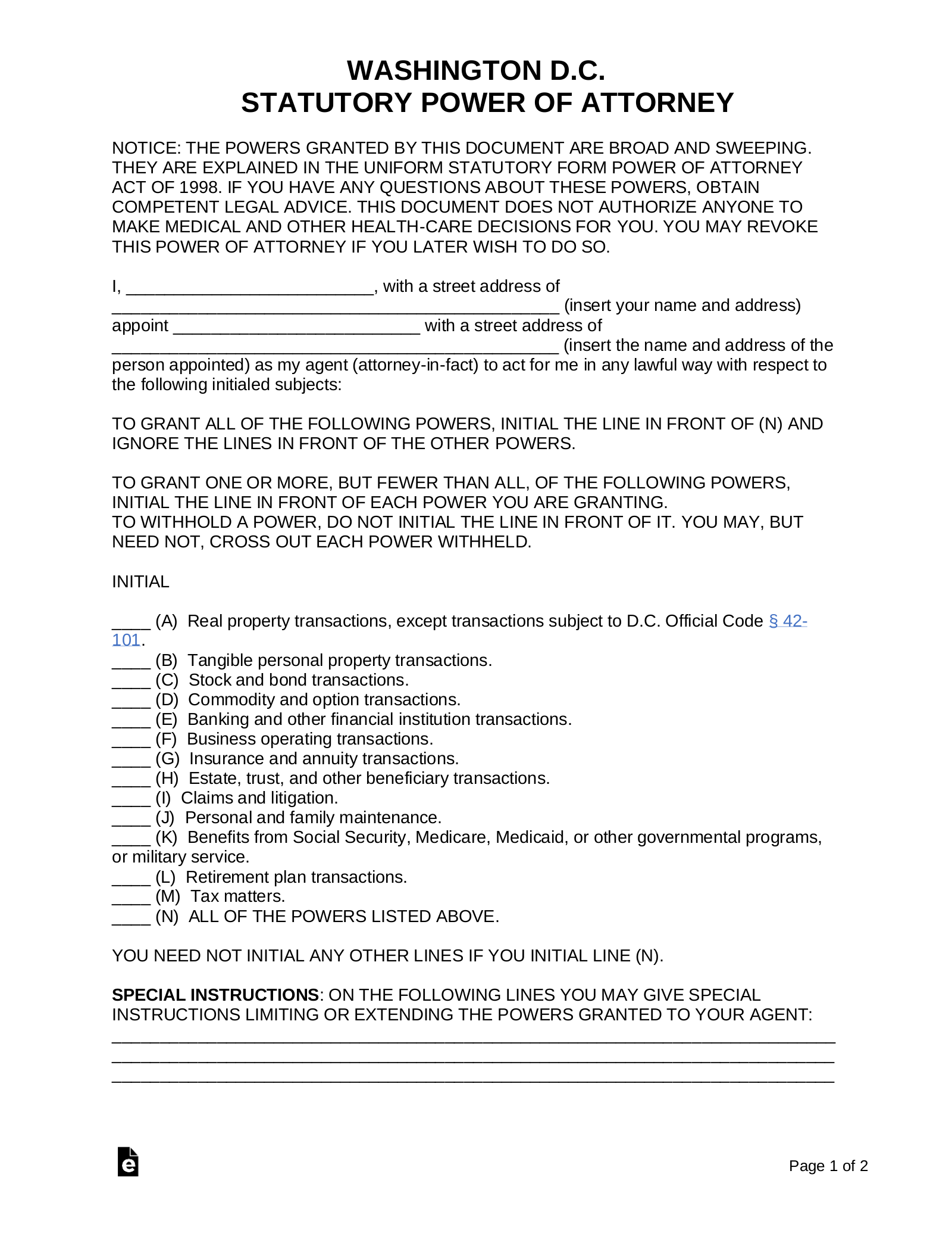 Free Washington D.C. Power of Attorney Forms   PDF   Word – eForms