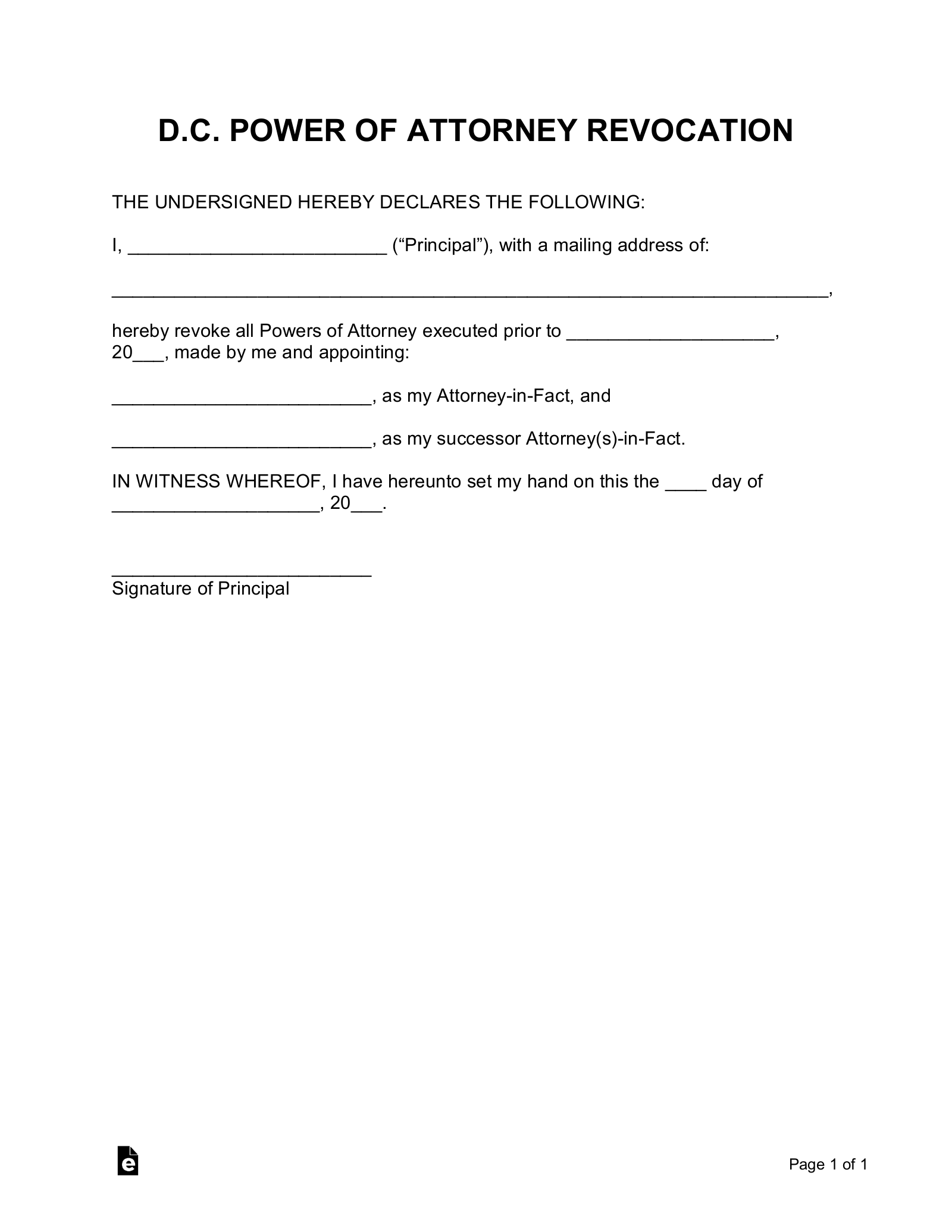 Free Washington D.C. Power of Attorney Revocation Form   Word ...