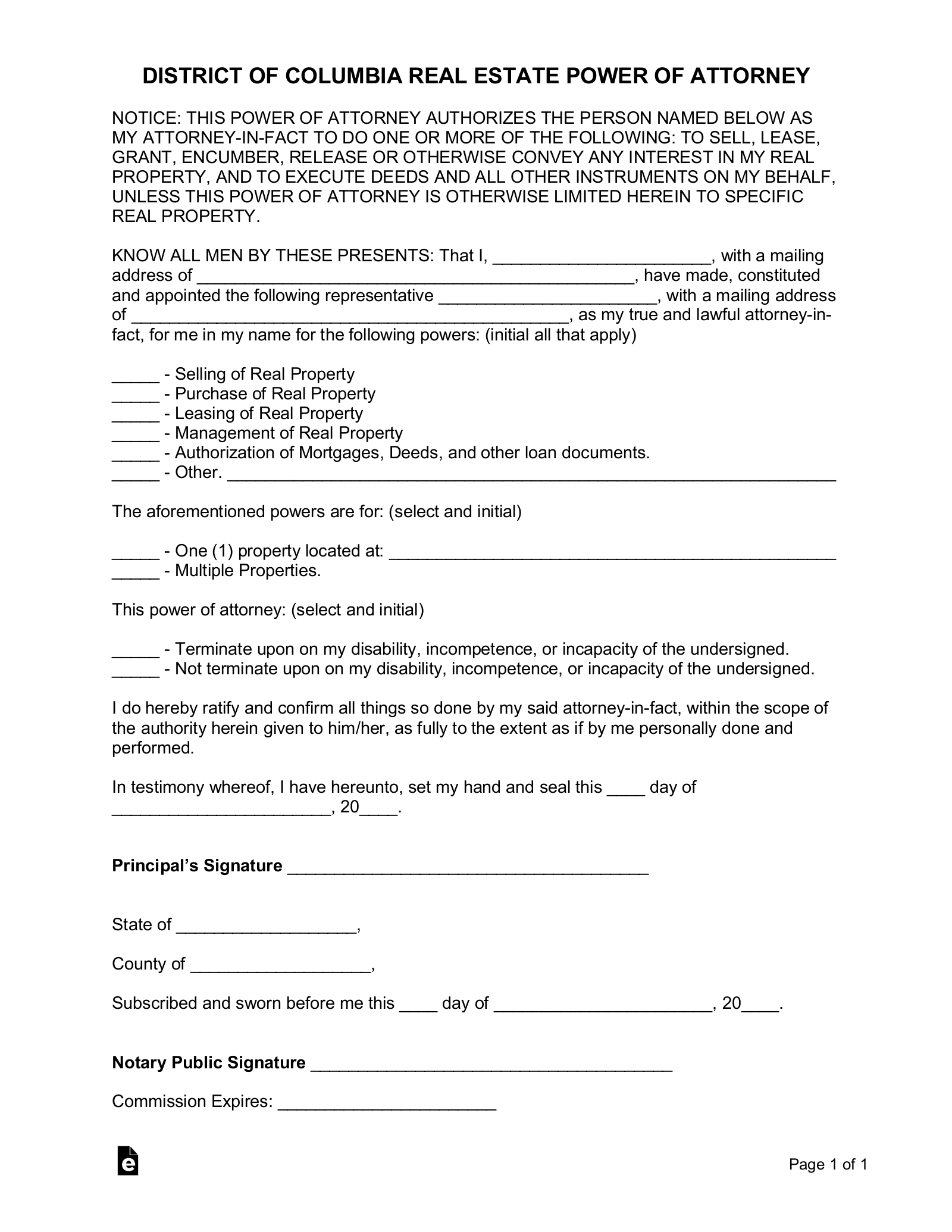 Free Washington D.C. Real Estate Power of Attorney Form   PDF ...