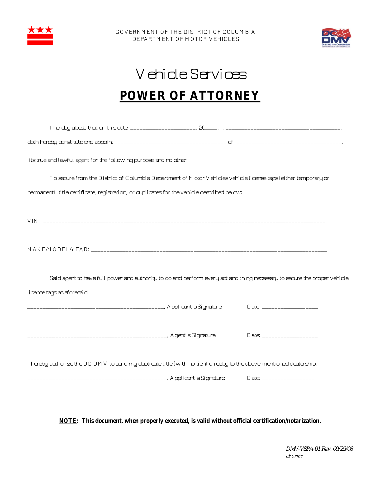 Washington D.C. Vehicle Power of Attorney Form DMV VSPA 30 – eForms